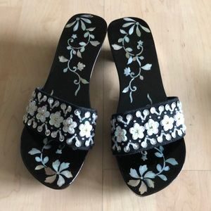 Mother of Pearl Lacquered Wooden Mules